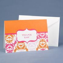 20622 Orange Damask and Crest Thank You Cards
