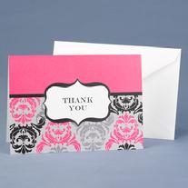 20623 Fuchsia Damask and Crest Thank You Cards