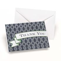 Navy Trellis Thank You Cards