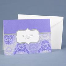 20624 Purple Damask and Crest Thank You Cards